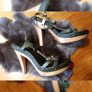 Frye Dark Green Chunky Heels